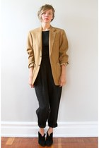 camel Vintage from Oma Vintage blazer - black vintage pants - black Nine West bo