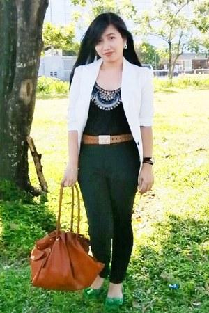 crimson backless People are People top - white Zara blazer - tawny Celine bag
