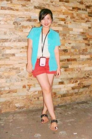 red shorts - turquoise blue top