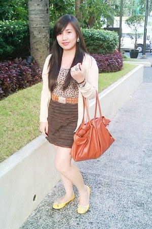 beige Mango blazer - tawny Celine bag - brown Tomato skirt - yellow Tomato flats