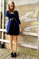 black winners dress - black thrifted shoes - blue active basic cardigan - black