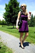purple Vero Moda dress - black le chateau shoes - black Aldo purse - black Joe F