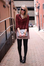 Gray-h-m-bag-light-pink-joe-fresh-skirt-maroon-mink-pink-blouse