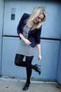Blue-h-m-blazer-white-everly-dress-black-forever21-shoes