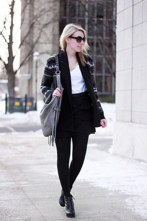 gray BB Dakota cardigan - black Dolce Vita boots - silver linea pelle bag