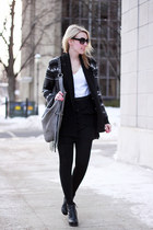 gray BB Dakota cardigan - black Dolce Vita boots - silver linea pelle bag