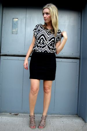 black Vero Moda skirt - H&M shirt - beige Aldo shoes