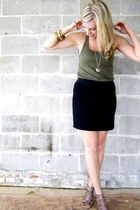 green H&M shirt - black Vero Moda skirt - beige Aldo shoes