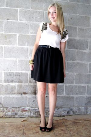 pink H&M top - black Joe Fresh skirt - black payless shoes