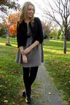 gray thrifted dress - black Joe Fresh jacket - black Steve Madden boots