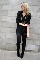 black H&M blouse - gray H&M shorts - black Urban Planet boots - gold envy neckla