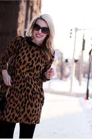 brown leopard print romwe dress - black Dolce Vita boots - black H&M tights