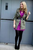 pink Lush dress - green Spotted Moth jacket - black le chateau shoes - black HUE