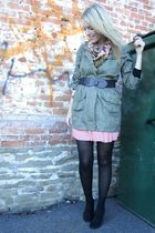 green Spotted Moth jacket - pink American Apparel skirt - pink H&M scarf - black