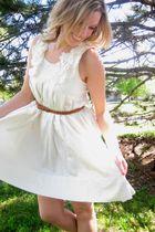white H&M dress - brown H&M belt