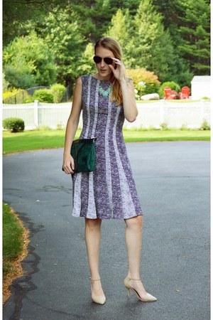black Anne Klein dress - gold ray-ban sunglasses - nude shoemint heels