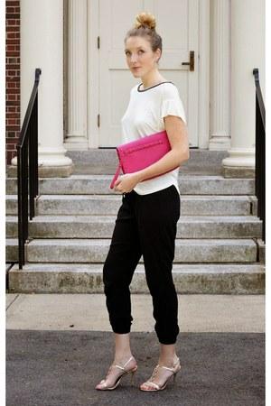hot pink neiman marcus bag - black Old Navy pants - gold Aldo heels
