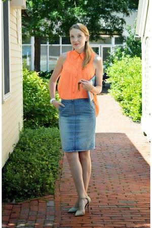 blue Gap skirt - carrot orange Pure Sugar top - nude shoemint heels