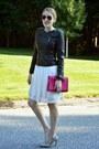 White-tahari-dress-black-raison-detre-jacket-heather-gray-bcbg-heels