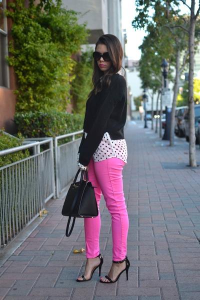 black Target sweater - hot pink hollister jeans - black Michael Kors bag