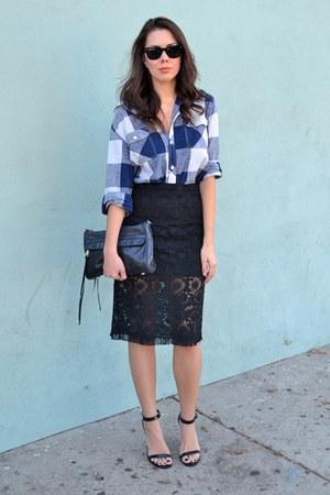 blue Target top - black Rebecca Minkoff bag - black Steve Madden heels