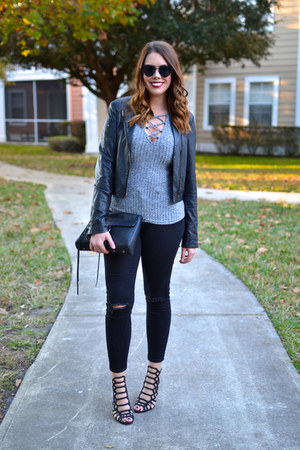 Old Navy jeans - Lauren Conrad jacket - Rebecca Minkoff purse - JustFab heels