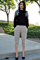 beige unknown brand pants - black velvet pumps unknown brand shoes