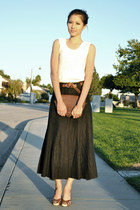 off white thrifted vintage shirt - black liz claibrone vintage skirt - brown thr