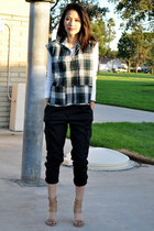 forest green thrift vest - black f21 pants - tan unknown brand shoes