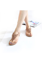 Boho Beaded Flower Flat T Strap Thong Sandal