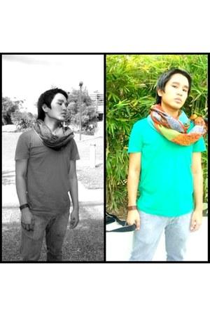 Folded & Hung shirt - bench bag - bench jeans - Aldo bracelet - vintage scarf