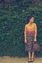 red Miu Miu belt - brown shoes - blue Hugo Boss skirt - brown