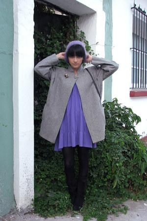 heather gray vintage coat - purple dress - black tights - black boots - purple D