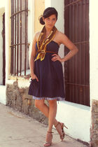 gold shoes - blue dress - yellow vintage scarf - brown vintage belt