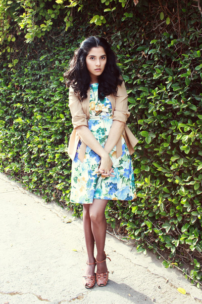 light blue floral DIY dress - tan silk vintage shirt - dark brown unknown tights