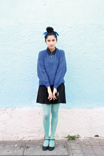 blue vintage knit vintage sweater - black cotton unknown dress