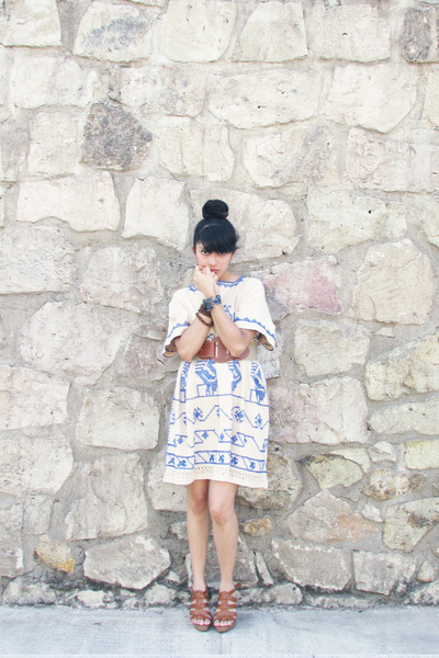 brown leather unknown shoes - cream made by grandma DIY dress - brown unknown be