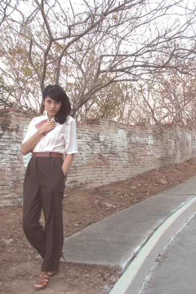 light pink vintage vintage blouse - dark brown vintage vintage pants - brown acc
