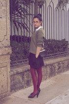 olive green vintage sweater - black shoes - black dress - brick red tights