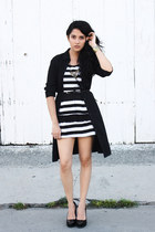 black OASAP dress - black unknown brand dress - gold DIY necklace