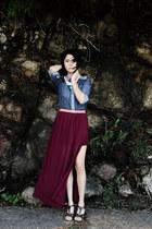 crimson maxi skirt Biography skirt - blue denim unknown brand shirt