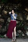 Blue-denim-unknown-brand-shirt-crimson-maxi-skirt-biography-skirt