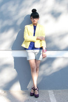 purple purple unknown shoes - light yellow cotton vintage blazer - light blue de