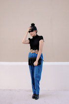 blue vintage pants - black vintage shoes - black vintage purse - black top