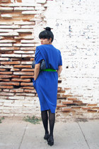 black shoes - blue vintage dress - black tights - navy Walmart purse - chartreus