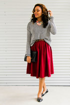 cotton H&M skirt - cotton skirt - zara coat - cotton Forever 21 sweater