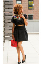 black vintage Urban Outfitters blouse - red satchel H&M bag