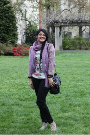 pink Ardene scarf - beige Payless shoes - pink H&M jacket - black Aldo bag