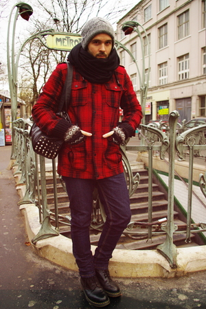 red pull&bear coat - Cheap Monday jeans - black American Apparel - black doc mar