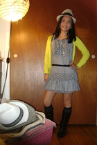 H&M sweater - Forever 21 dress - Forever 21 socks - Nicole boots - Nine West hat